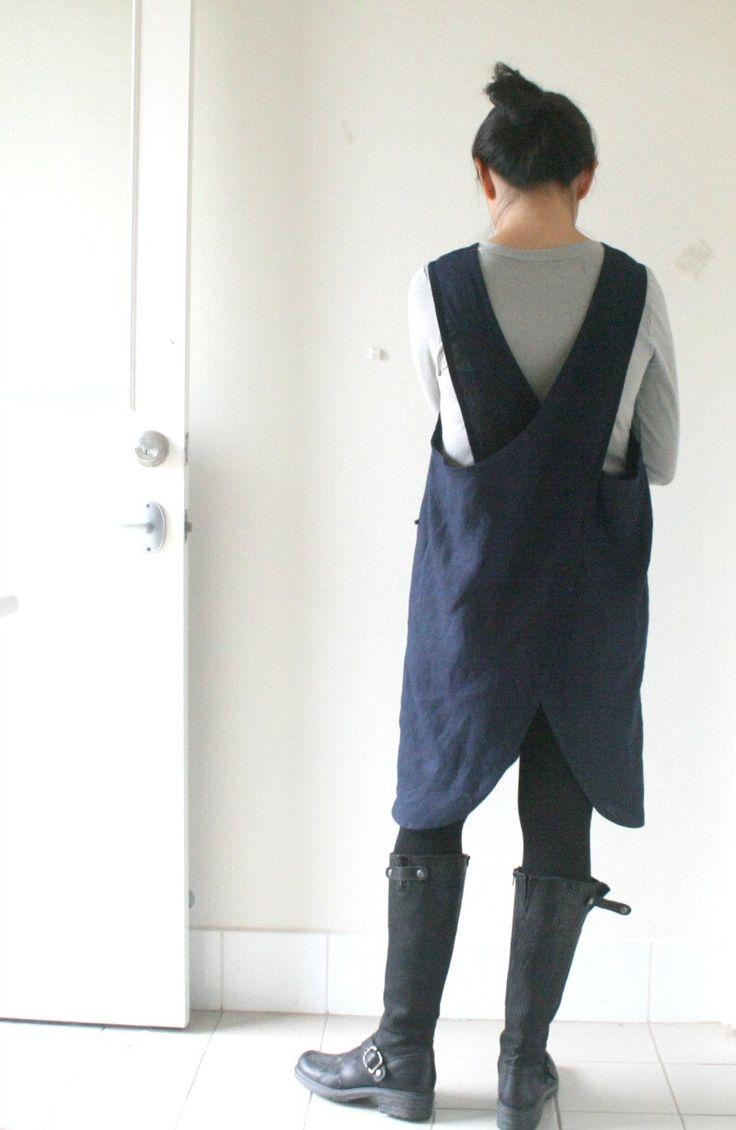 LINEN PINAFORE - mabel / prussian blue / criss cross / linen dress / women linen clothing / smock / linen apron / australia / pamelatang by PAMELATANG on Etsy https://www.etsy.com/listing/197391271/linen-pinafore-mabel-prussian-blue-criss