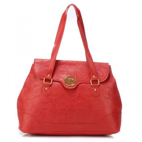 Michael Kors Logo Monogram Large Red Shoulder Bags