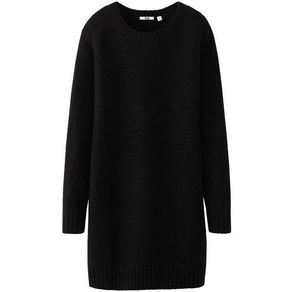 UNIQLO Women Heattech Knit Dress ($20) ❤ liked on Polyvore featuring dresses, sweaters, vestidos, uniqlo dresses, uniqlo and knit dress