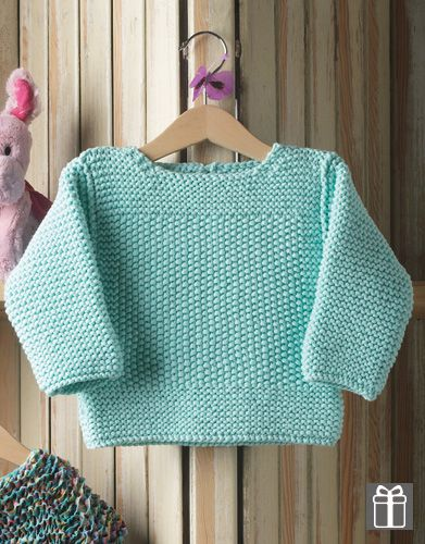 Katia Bulky Cotton Baby jumper free pattern. #Fruity Spring · Summer #Colortrend 2015 #KatiaYarns. 3-24 months