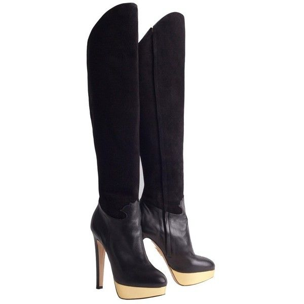 Pre-owned Black thigh high boots (1,115 CAD) ❤ liked on Polyvore featuring shoes, boots, black, black thigh-high boots, over-the-knee leather boots, black platform boots, thigh boots and black leather boots
