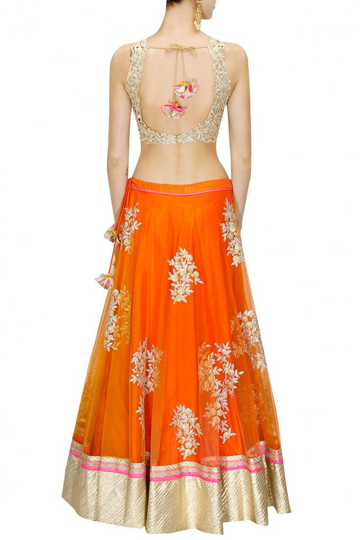 Orange embroidered lehenga with pink cutwork blouse and dupatta available only at Pernia's Pop-Up Shop.