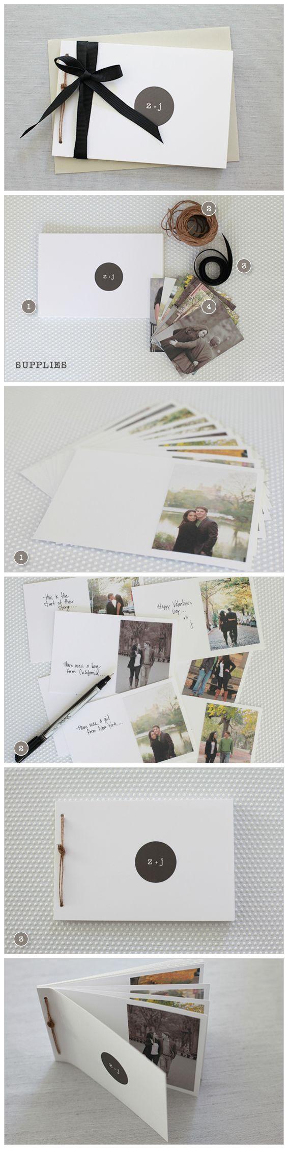 """Tu propio álbum de fotografías con tu pareja. En cualquier diseño aplica la regla de """"menos es más"""" es decir, entre menos cosas tenga el espacio, se verá más amplio. Juega con los colores, puedes agregarle un marco de colores o pequeños detalles  a los lados pero recuerda la regla. http://www.weddingchicks.com/2011/01/27/diy-valentines-love-book/"""