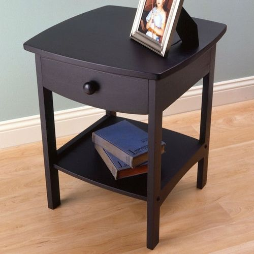 Black 1 Drawer Bedroom Nightstand Contemporary End Table