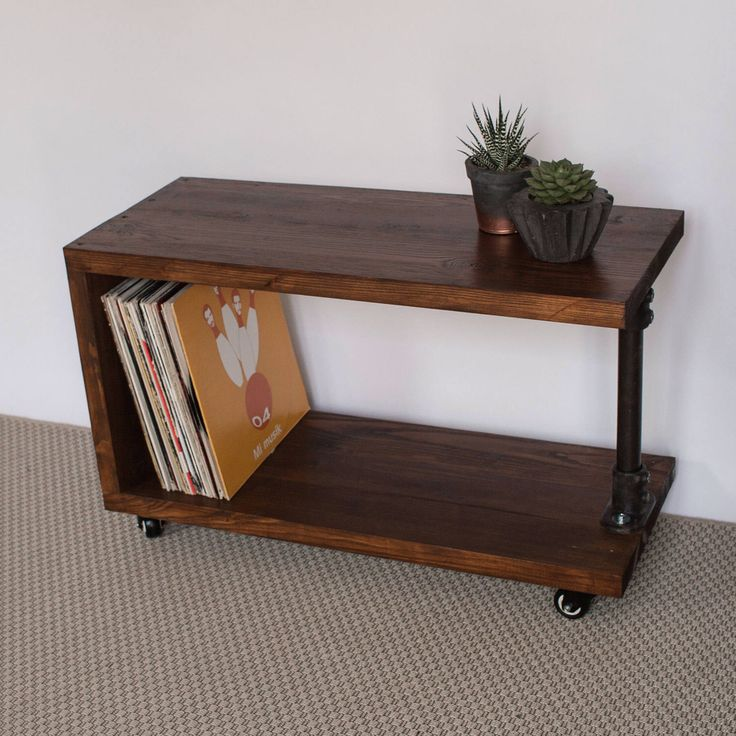 Panorama Reclaimed Wood Record Player Stand  TV Cabinet  Vinyl Storage   Vinyl Console  Handmade  Dark Oak  Gas Pipe Furniture
