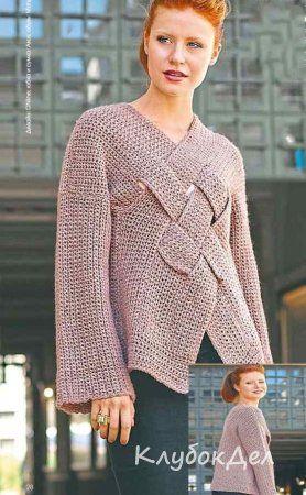 пуловер с переплетенными полосами