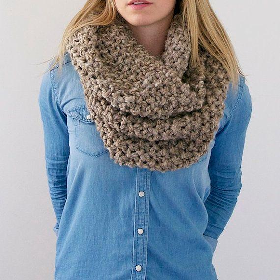 Chunky Knit Infinity Scarf in Heathered Brown by AnahareoSeasonal