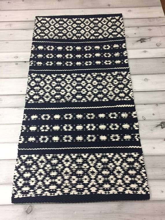 Navy Blue White Rug Scandinavian Rug Modern Rag Rug Dining Scandinavian Rug White Rug Washable Area Rugs