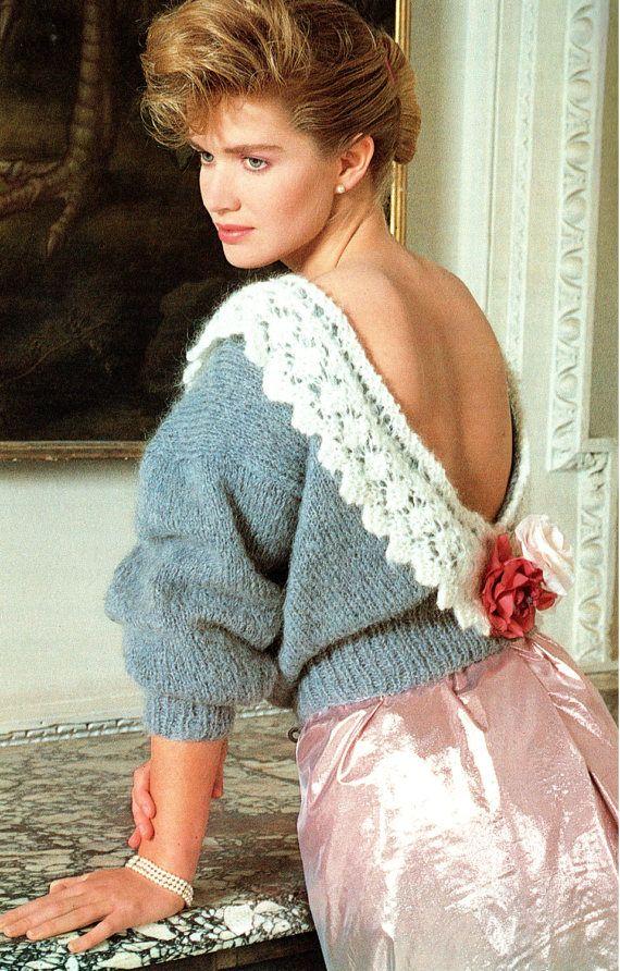 PDF Vintage Womens Ladies Blouse Knitting Pattern BACKLESS