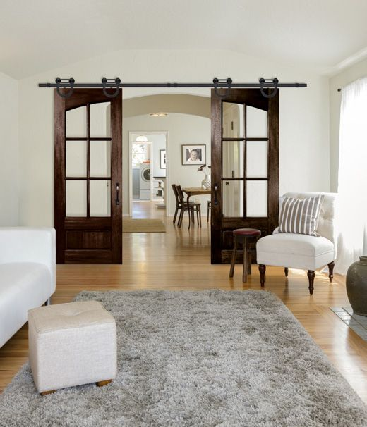 Double 6 Lite Arch Lite rolling doors in the True Divided Lite BarnCraft Collection with Waggoner BarnCraft rolling hardware, Clear glass, and Monterey pull handle. Shown with Antique Canyon Brown stain optionhttp://www.doornmore.com/interior-doors/interior-door-configuration/barn-doors.html
