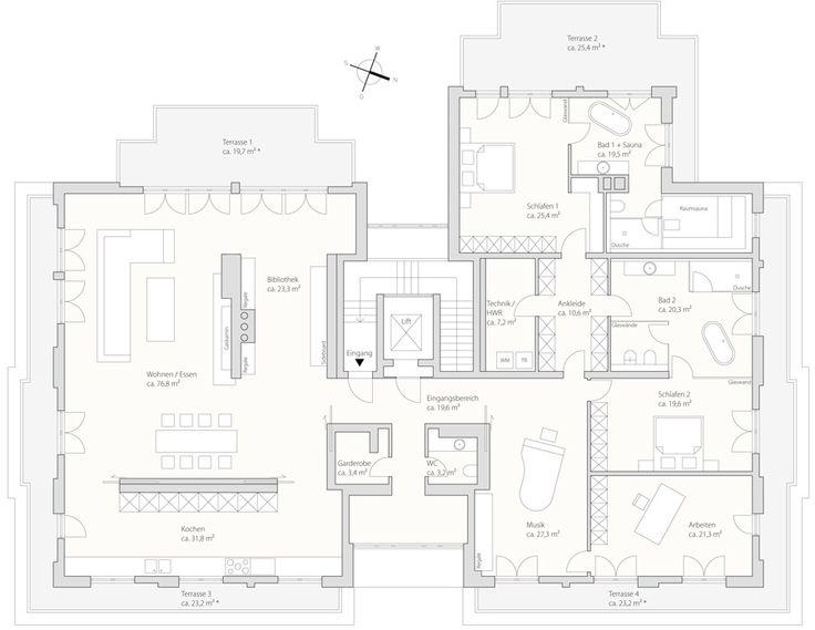 grundriss luxus penthouse in m nchen oben ohne wohnen pinterest grundrisse h uschen. Black Bedroom Furniture Sets. Home Design Ideas