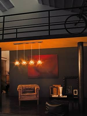 'Diamante' by Vistosi.  A collection of lamps using a glass made with a totally handcrafted production and available in three sizes that can be used as pendant, sconce, table and floor lamp or being part of a cluster. www.essessltd.com