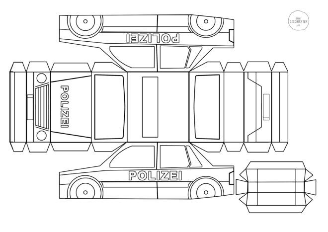 Opel Polizei Bastelbogen Papiermodelle Papiermodell 3