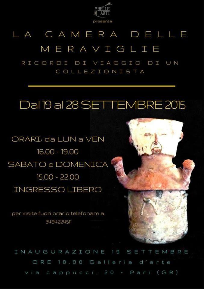 """Fino al 28 ottobre """"La Camera delle Meraviglie"""" mostra presso la Galleria d'Arte di Pari."""