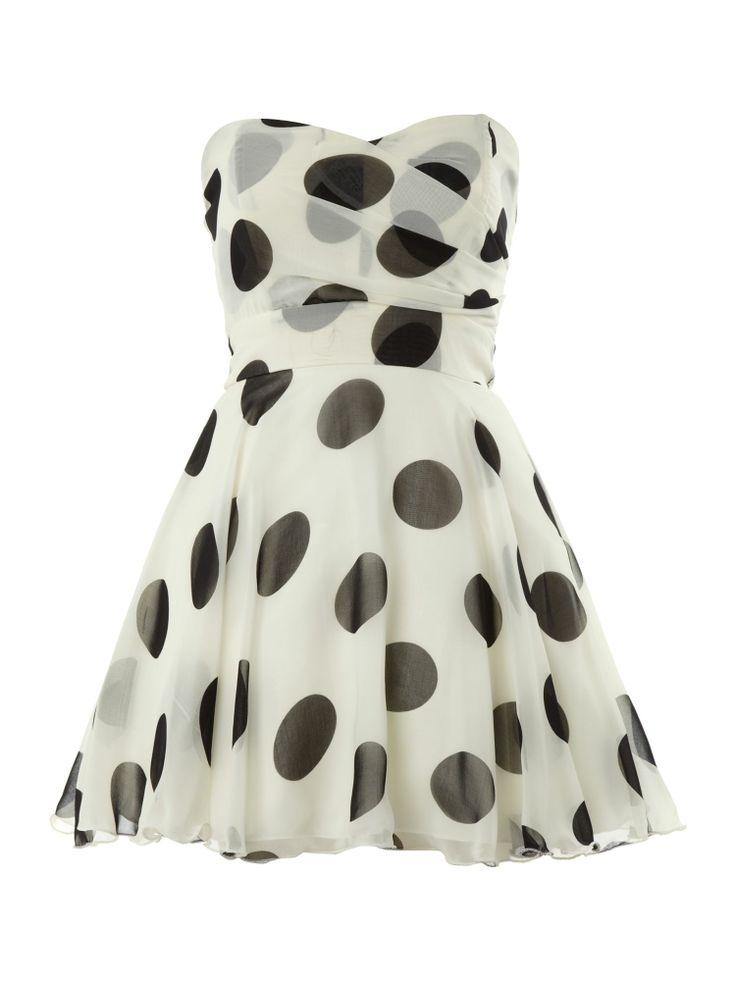White Polka Dot Bandeau Dress