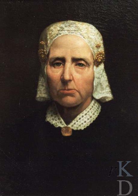 Jacob Klay Portret van Marijke Klazes Hoekstra (Wergea 1811 - Amsterdam 1885) 1875-1899 FRIESE MUTS. KANTEN KRAAGJE. GOUDEN SIERADEN, DONKERE KLEDING.DONKER FOND. #Friesland
