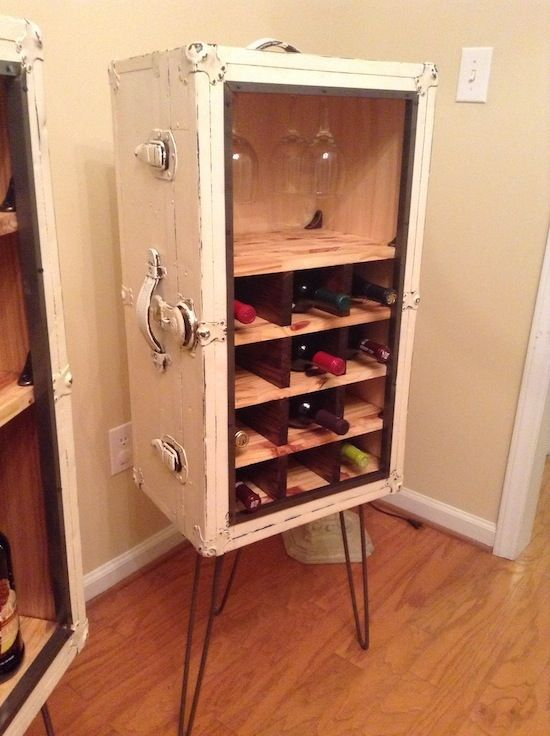 Steamer trunk bar #upcycle #wine