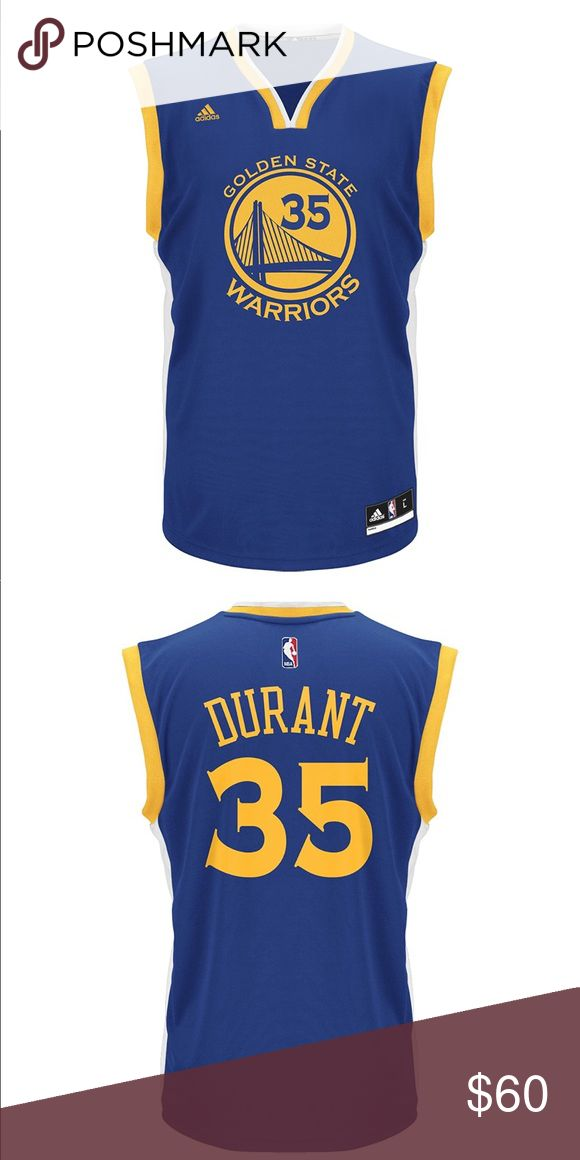 adidas NBA Golden State Warriors KD Men's Jersey Prove you are the #1 Kevin Durant fan with this Replica jersey from adidas! This Replica is the ultimate Golden State Warriors jersey. Whether it's going to the game, spending time with your friends or anything in-between - this jersey does it all. The Replica includes adidas Climacool ® performance mesh fabrication and one layer twill wordmark, name & number applications. The NBA Replica jersey - the most authentic Replica ever made. adidas…
