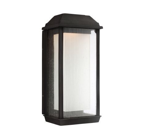 A transitional riff on lantern style outdoor lighting, Feiss McHenry combines the textures of seeded glass, white opal glass and the textured black finish for a beautiful look. LED light means you won't need to change bulbs for a long time. Plus, McHenry is made of Feiss' proprietary StoneStrong material for extra hardiness. It has a 5-year warranty and is actually recommended for coastal areas!