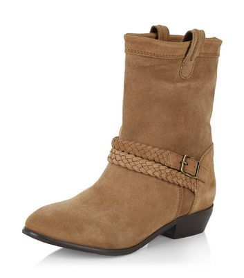 Tan Leather Block Heel Buckle Boots - New Look