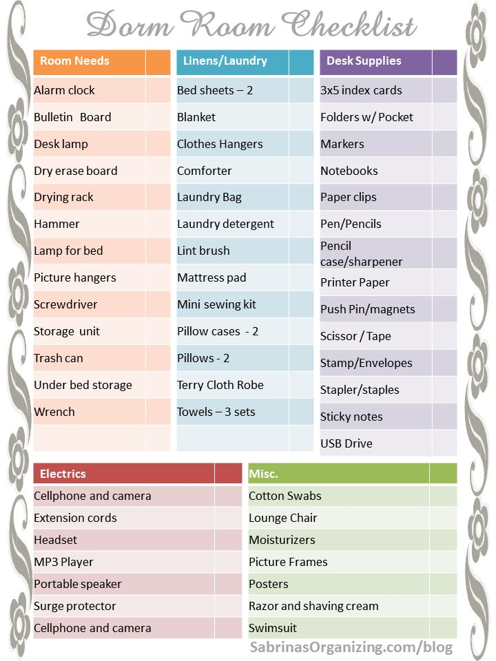 Wonderful Dorm Room Checklist   Page 1   Need FREE Checklists For Your College  Student? Check Part 29
