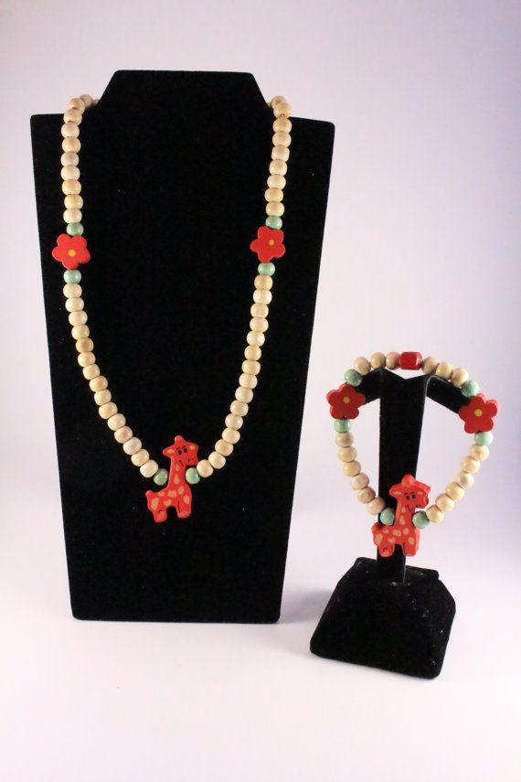 Red and Cream Childrens Wooden Giraffe Jewellery Set