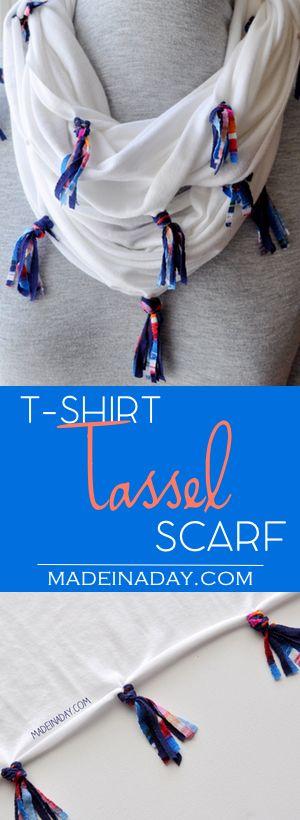 DIY T-Shirt Tassel Scarf, Turn a jersey knit shirt into a colorful mini tassel scarf! Navy tassel scarf, tutorial on madeinaday.com