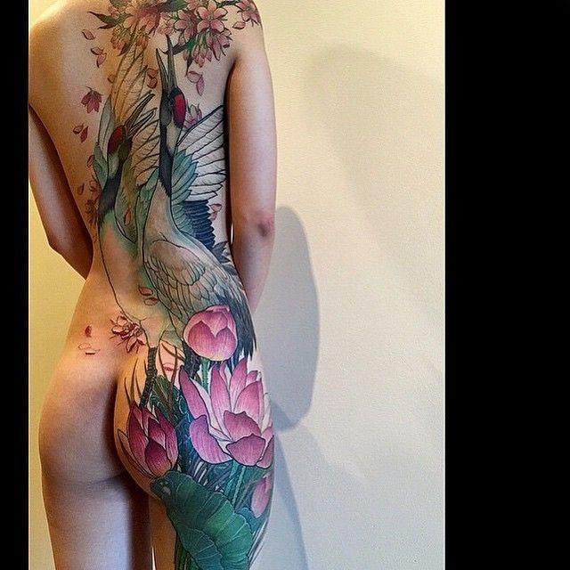 Elegant back piece #tattoo by @mrpingpong!
