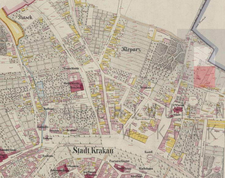 Fragment mapy katastralnej z połowy XIX w., ukazujący Piasek i Kleparz. Żółtym kolorem zaznaczono budynki drewniane, czerwonym murowane. Archiwum Narodowe w Krakowie,