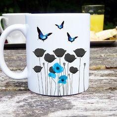 Mug original et personnalisable coquelicot et papillon bleu, céramique, tasses personnalisable