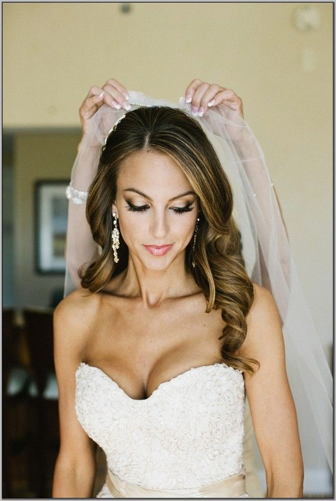 wedding down hairstyles with veil - Google Search