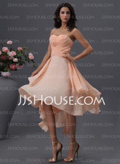 Bridesmaid Dresses - $116.99 - A-Line/Princess Sweetheart Asymmetrical Chiffon Bridesmaid Dress With Ruffle (007022746) http://jjshouse.com/A-Line-Princess-Sweetheart-Asymmetrical-Chiffon-Bridesmaid-Dress-With-Ruffle-007022746-g22746