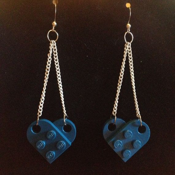 Blue Lego Earrings White Chain by BlackittehDesigns on Etsy