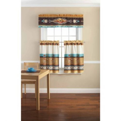 Valance And Tier Set Southwestern Theme Kitchen 3 Pc Cafe Curtains Patchwork New #ValanceAndTier