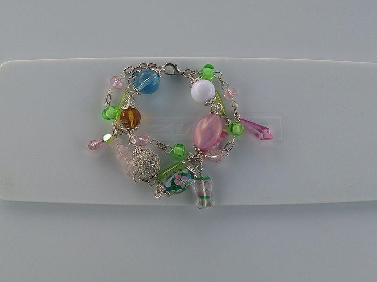 Pink & Green Three Strand Bracelet  https://www.etsy.com/shop/KanDiArts