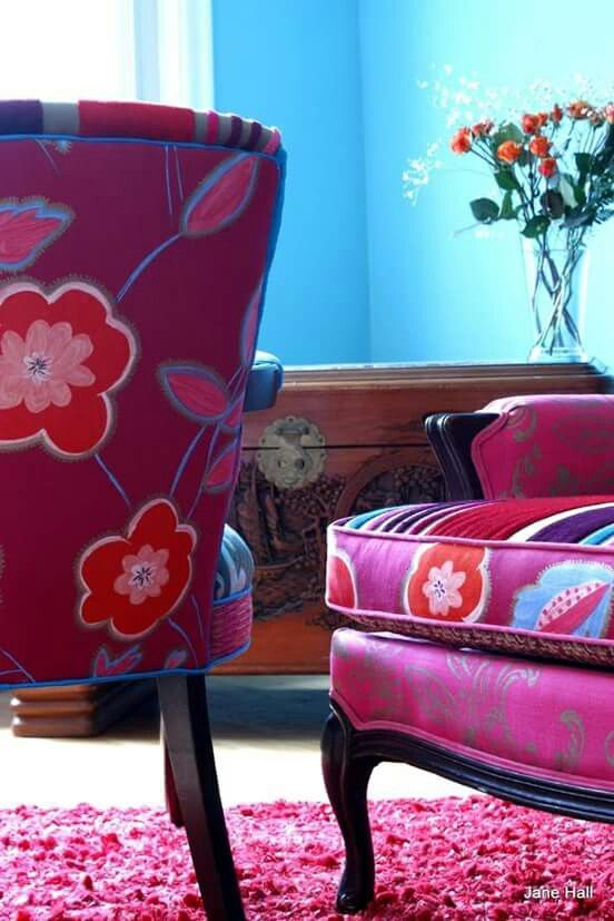 Upholstered Chair Vintage Chair And Settee In Tricia Guild Cut Velvet And  Prints Nice Look
