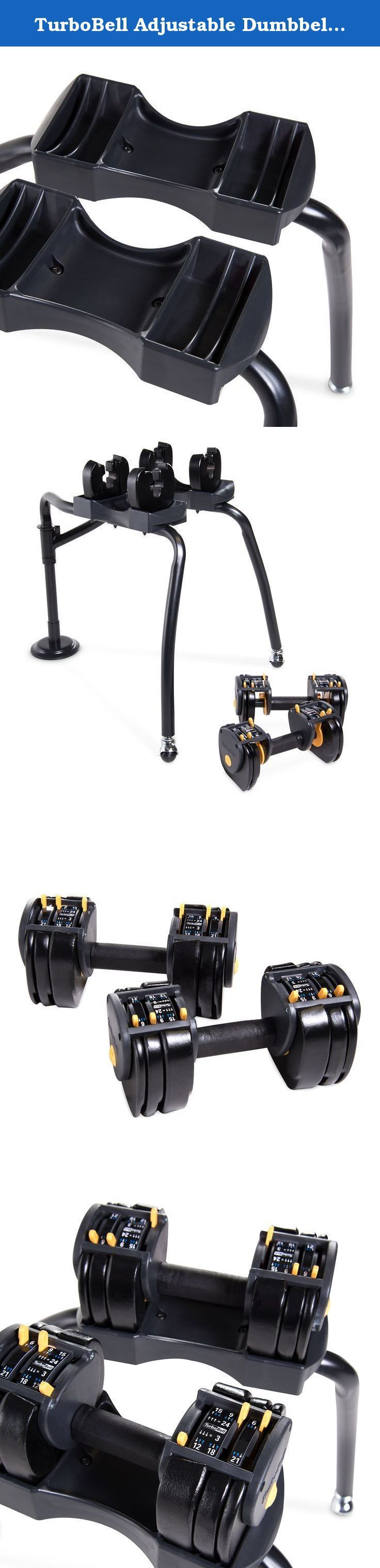 TurboBell Adjustable Dumbbell Set with Rack, 24 lb Pair. This 48 lb adjustable dumbbell set is convenient and great for both beginners and the advanced fitness enthusiast. Each dumbbell has a max weight of 24 lbs, and can be adjusted down to just 3 lbs. Also included is a dumbbells stand, which can be easily moved around.