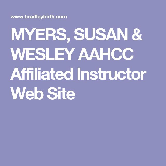 MYERS, SUSAN & WESLEY AAHCC Affiliated Instructor Web Site
