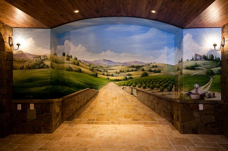 wine cellar mural...follow the tuscan brick road