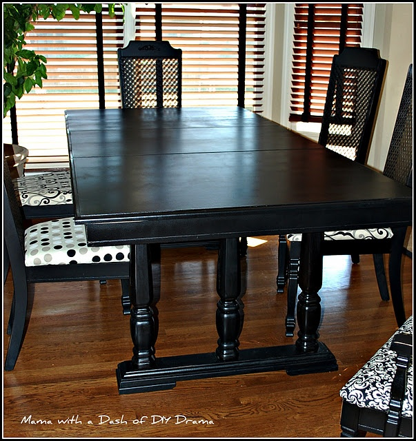 Dining Rm Table And Chairs Painted Black