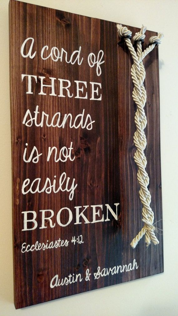 Cord of Three Strands Sign Ecclesiastes 4:12 by TheLoggersDaughter