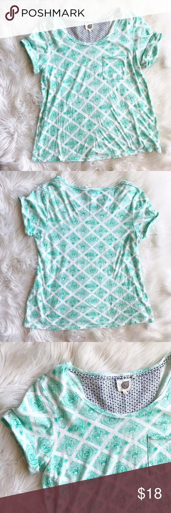 Anthropologie Lika Camel Tee Shirt Excellent condition tee shirt by Lika for Anthropologie. White with teal/aqua camel print all over. Size medium. Semi loose fit. Measurements to come. No trades, offers welcome. Anthropologie Tops Tees - Short Sleeve