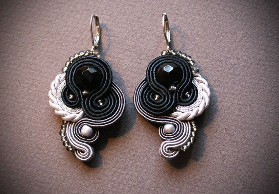 Black and White Soutache Earrings with silver by EclectoJewellery
