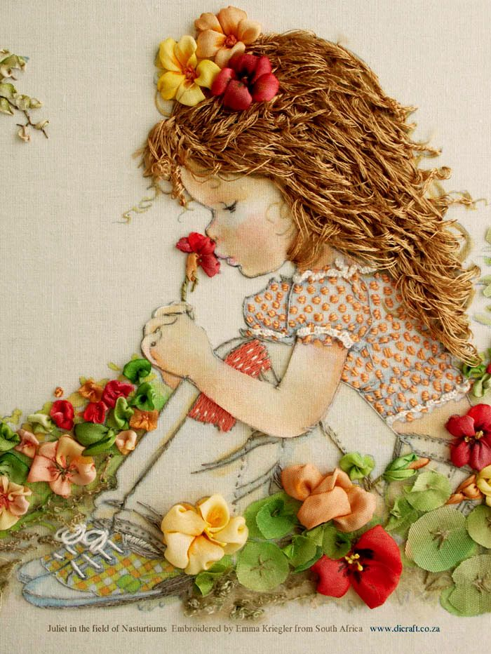 2 Juliet in the field of Nasturtiums Embroidered by Emma Kriegler - close-up detail
