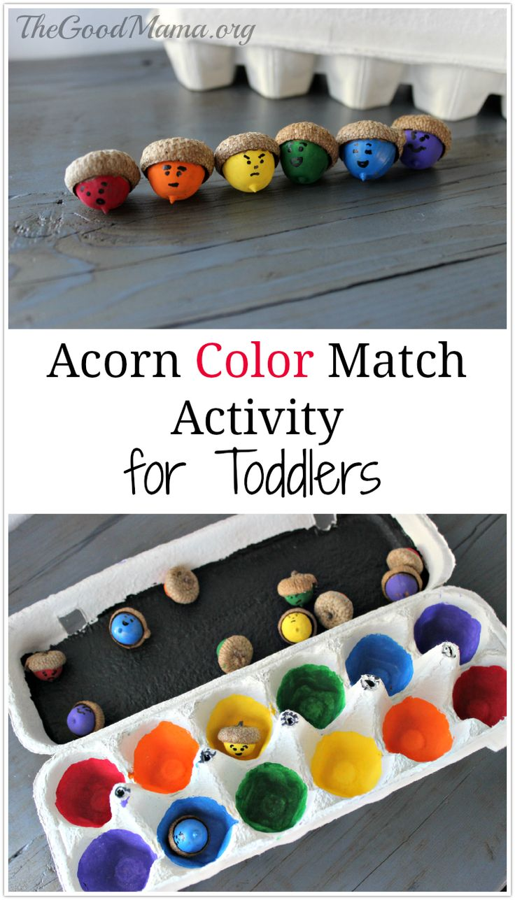 Fall colors activities for toddlers - Acorn Color Match Activity For Toddlers