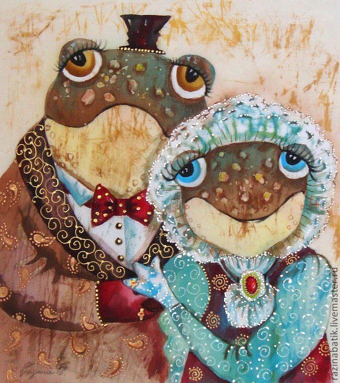 """Купить Лягухи """"Семейный портрет""""(батик панно) - бежевый, семья, деньги, лягушка, жаба, портрет, картина"""