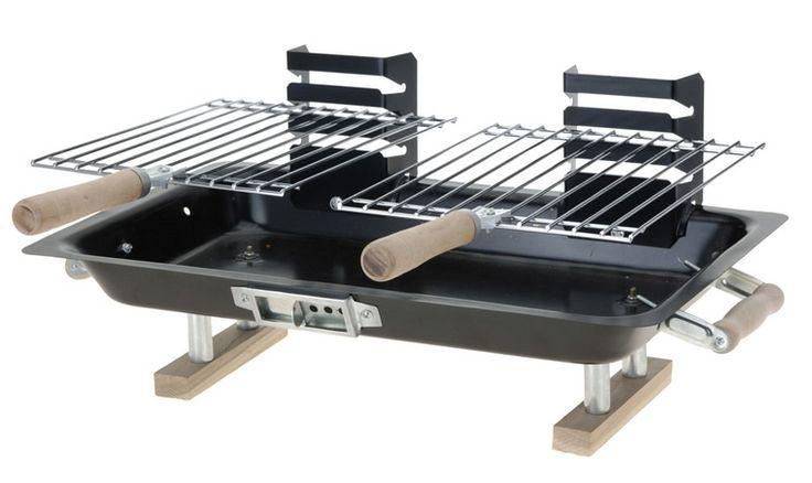 Handige tafel barbeque met verstelbare roosters.Afmeting: 43.5 x 25 cm -