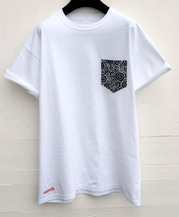 Men 39 s black and white mosaic design white pocket t shirt for Custom t shirts with pockets