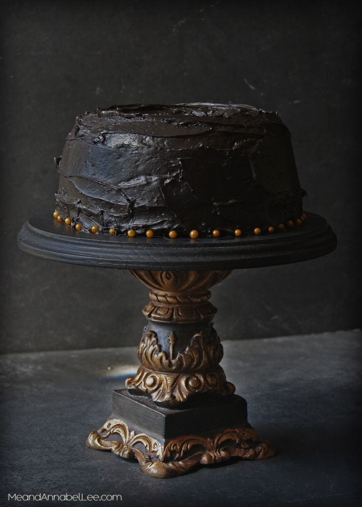 Fit For a King - Black & Gold Gothic Cake Stand - Trash to Treasure Style! Dark Style - Black Cake - www.meandannabellee.com