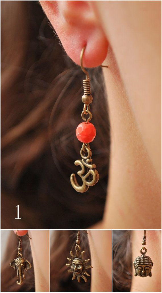 Hippie festival earrings. Elephant earrings. Buddha by Estibela